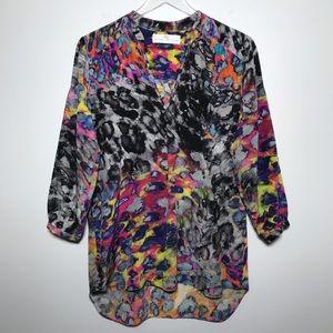 Amanda Uprichard Colorful Silk Leopard Print Top